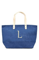 Cathy's Concepts 'Nantucket' Personalized Jute Tote Blue Blue L