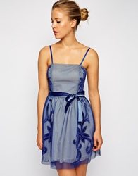 Asos Mesh Applique Prom Dress Blue