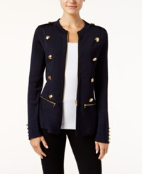 Inc International Concepts Military Sweater Jacket Only At Macy's Deep Twilight