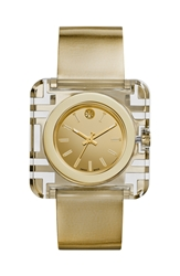 Tory Burch 'Izzie' Square Leather Strap Watch 36Mm Gold
