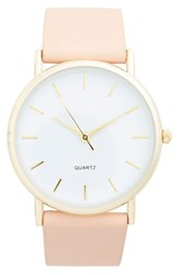 Junior Women's Bp. Round Face Faux Leather Strap Watch 35Mm Beige Gold