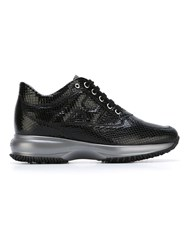 Hogan Snakeskin Effect Sneakers Black