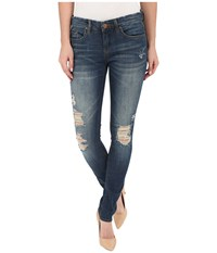 Blank Nyc Skinny Classique Jeans With Distressing In Denim Blue Denim Blue Women's Jeans