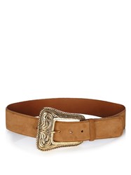 Saint Laurent Western Corset Suede Belt Brown