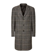 Gieves And Hawkes Houndstooth Check Overcoat Male Black