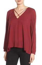 Lush Women's Strappy Long Sleeve Woven Blouse Cabarnet