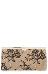 Jimmy Choo 'Camille' Lace And Leather Clutch Black