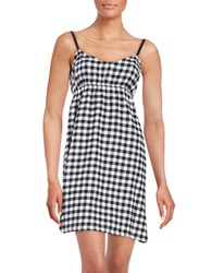 Lord And Taylor Cotton Plaid Nightgown Navy Buff