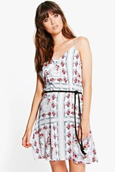 Boohoo Patchwork Floral Slip Dress Sky