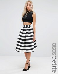 Asos Petite Prom Skirt In Stripe Mono Multi