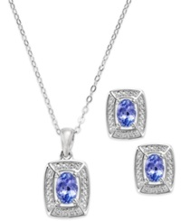 Macy's Sterling Silver Tanzanite 1 1 4 Ct. T.W. And Diamond Accent Necklace And Earring Set