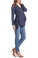 Lilac Clothing Women's Bella Faux Wrap Maternity Nursing Top Navy Pinstripe