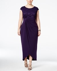 Connected Plus Size Sequined Lace Faux Wrap Draped Gown Eggplant