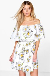 Boohoo Sunflower Frill Off The Shoulder Skater Dress Ivory