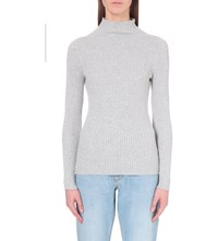 French Connection Bambino High Neck Ribbed Knit Jumper Black