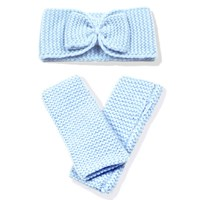 Cashmerism Cashmere Headband And Mittens Set Blue