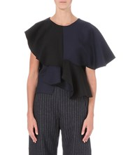 Jacquemus Le Volants Virgin Wool And Cotton Blend Top Navy