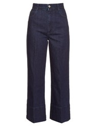 Stella Mccartney High Rise Wide Leg Cropped Jeans Indigo