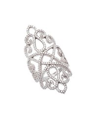Lord And Taylor Sterling Silver And Cubic Zirconia Filigree Ring