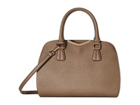 Calvin Klein On My Corner Saffiano Satchel Dark Taupe Satchel Handbags