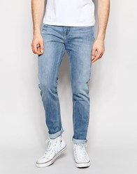 Weekday Sunday Drop Crotch Tapered Jeans In Dune Blue Light Dune Blue