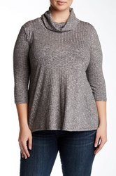 Everleigh Cowl Neck Knit Pullover Plus Size Gray