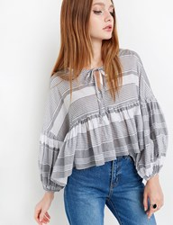Pixie Market Striped Balloon Sleeve Tie Top By New Revival