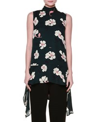 Marni Sleeveless Floral Print Draped Georgette Top Green