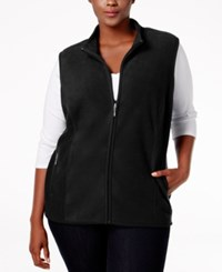 Karen Scott Plus Size Fleece Vest Only At Macy's Deep Black