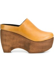 Simon Miller Wedge Mules Yellow And Orange