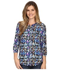 Nydj Solid 3 4 Sleeve Pleat Back Kasuri Ikat Women's Blouse Blue