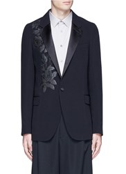 Alexander Mcqueen Waxed Floral Embroidery Crepe Blazer Black