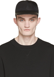 Valentino Black Leather Brim Cap
