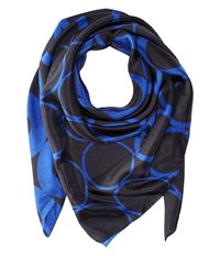 Bindya Lulla By Optical Print 1 Black Blue Scarves