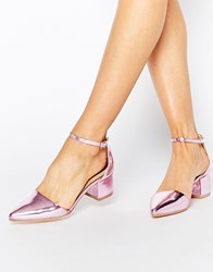 Truffle Collection Molly Ankle Strap Mid Heeled Shoes Pink
