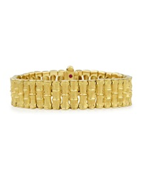 18K Gold Bamboo Bracelet With Diamond Clasp Medium Robert Coin