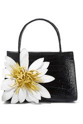 Nancy Gonzalez Floral Appliqued Glossed Crocodile Tote