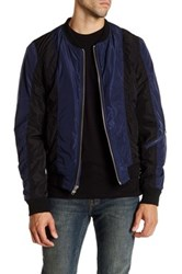 Blk Denim Two Tone Bomber Jacket Blue