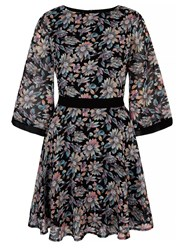 Mela Loves London Iris Floral Print Day Dress Black