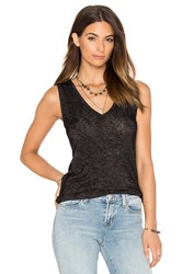 Velvet By Graham And Spencer Arwen Textured Knit V Neck Tank Black