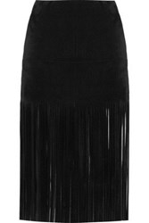 Valentino Fringed Suede Mini Skirt Black