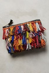 Anthropologie Confetti Fringe Clutch Orange