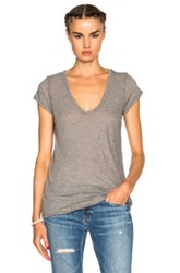 James Perse Deep V Neck Tee In Gray