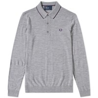 Fred Perry Long Sleeve Fine Merino Knitted Polo Grey
