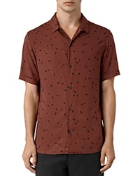 Allsaints Nauvoo Slim Fit Button Down Shirt Rust Brown