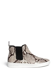 Michael Kors 'Keaton' Snake Effect Leather High Top Boots Animal Print Grey