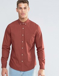 Asos Laundered Twill Shirt In Rust With Long Sleeves Rust Brown