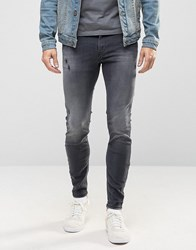 Diesel Stickker Super Skinny Jeans 677I Distressed Washed Black