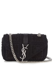 Saint Laurent Monogram Suede Cross Body Bag Black