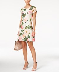 Ronni Nicole Short Sleeve Floral Print Fit And Flare Dress White Pink Floral
